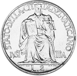 Vatican City 2 Lire reverse