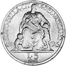 Vatican City 5 Lire reverse