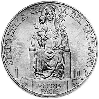 Vatican City 10 Lire reverse