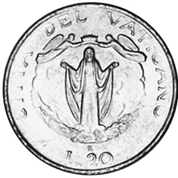 Vatican City 20 Lire reverse