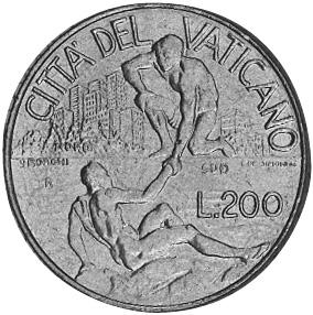 Vatican City 200 Lire reverse
