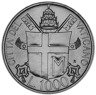 Vatican City 1000 Lire reverse
