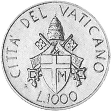 Vatican City 1000 Lire obverse