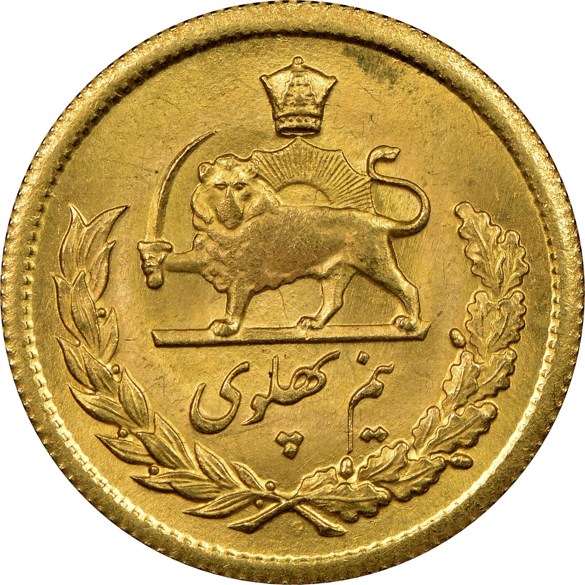 iran coin with lion holding sword