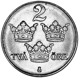 Sweden 2 Öre reverse