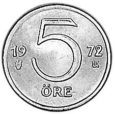 1972-1973 Sweden 5 Ore reverse