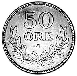 1911-1939 Sweden 50 Ore reverse