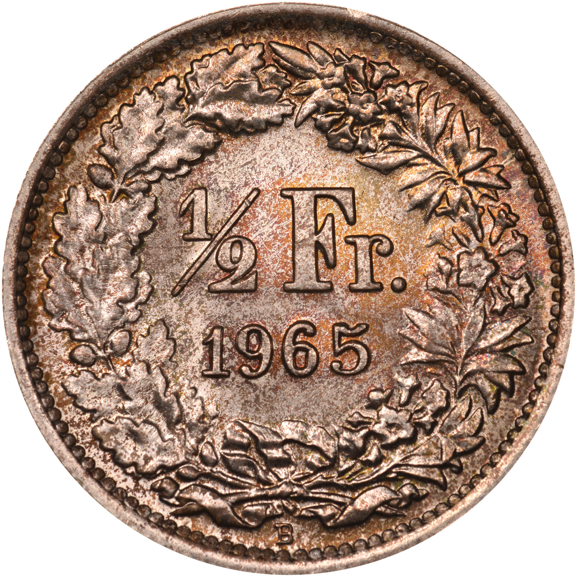 1875-1967 Switzerland 1/2 Franc reverse