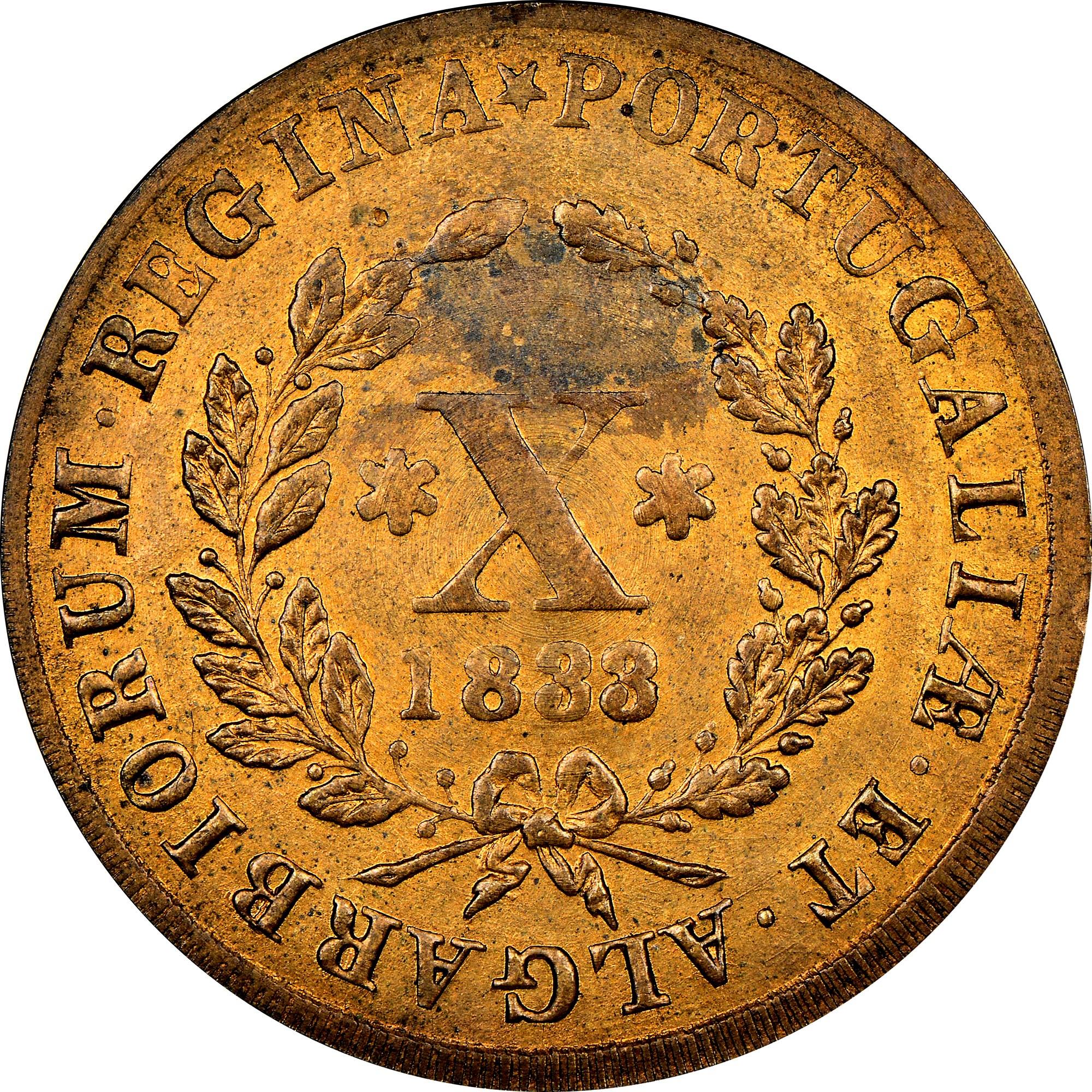 Portugal 10 Reis reverse