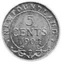 1903-1908 Newfoundland 5 Cents reverse