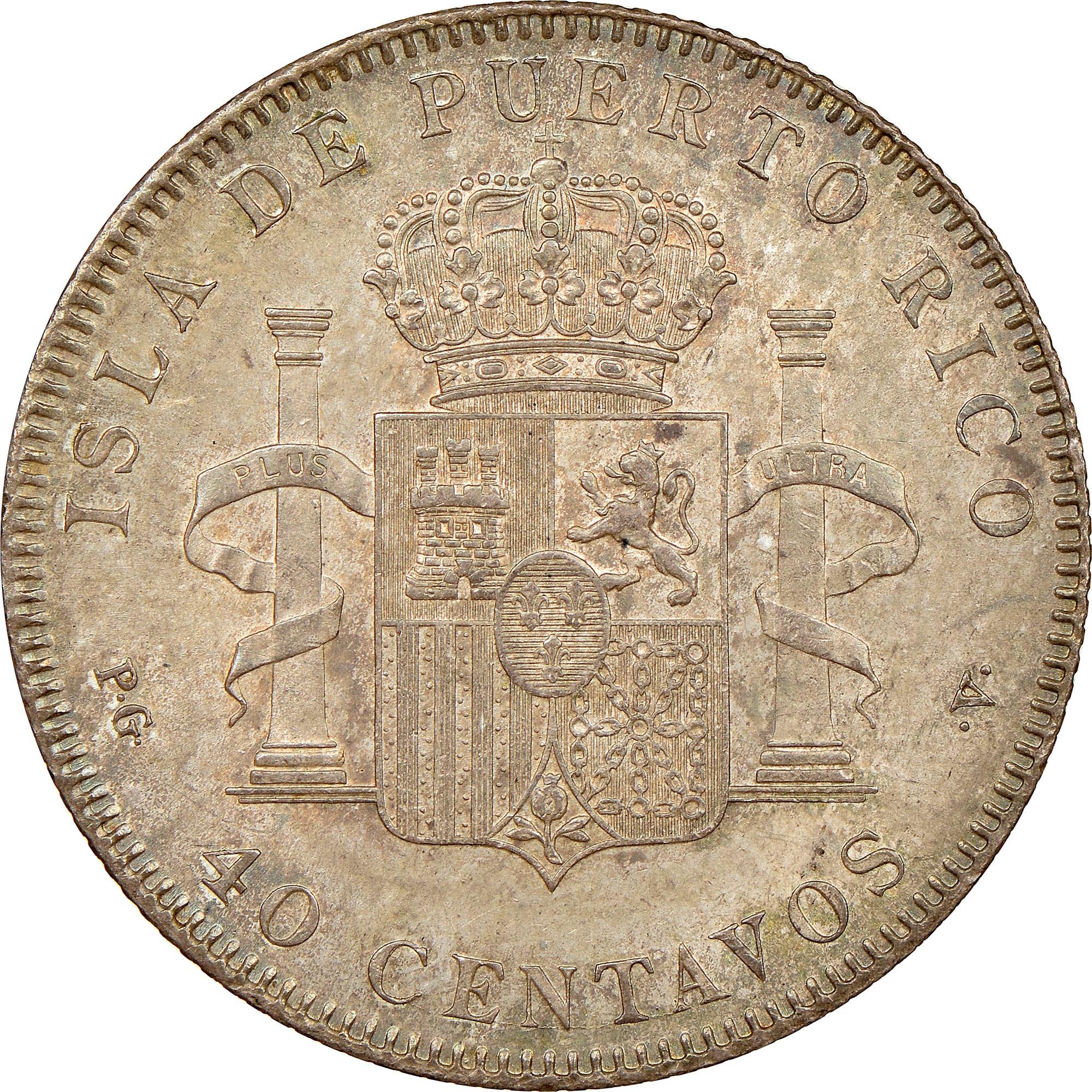 Puerto Rico 40 Centavos reverse