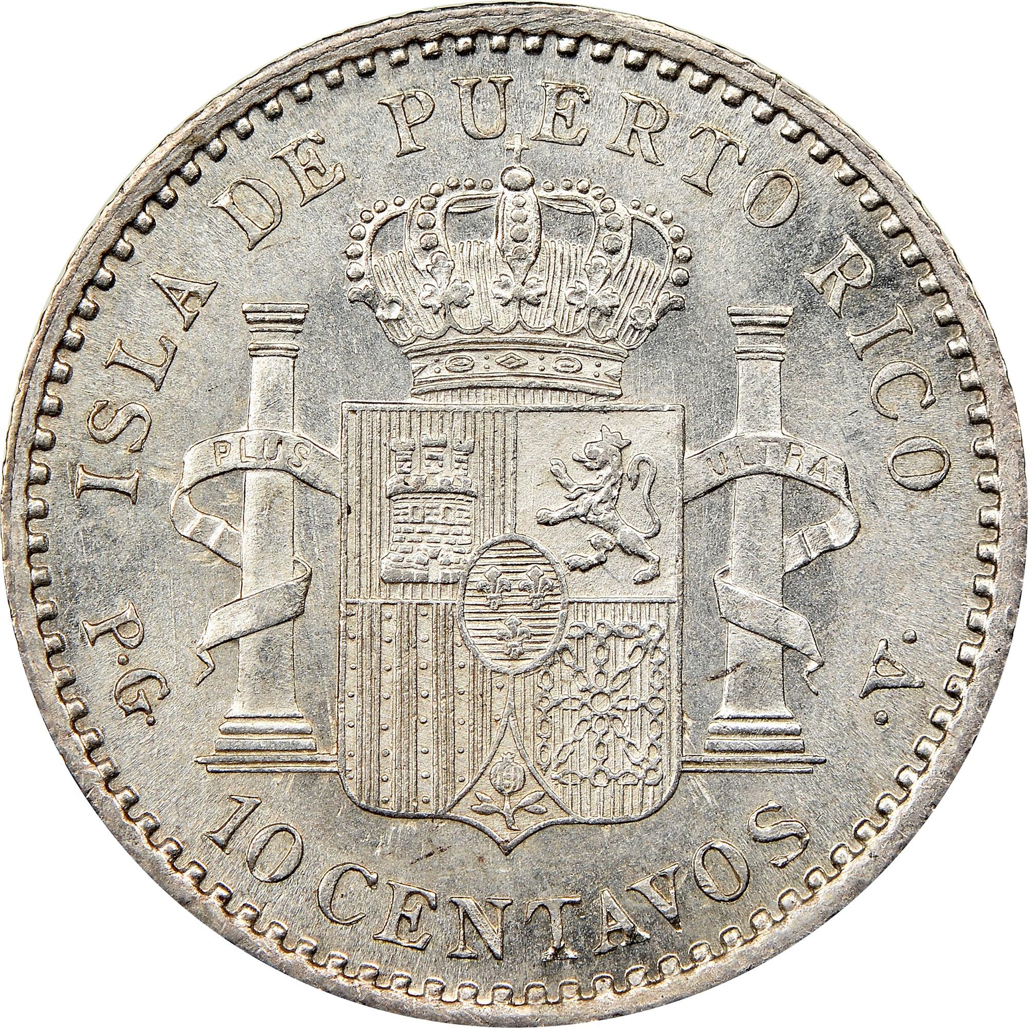 Puerto Rico 10 Centavos reverse