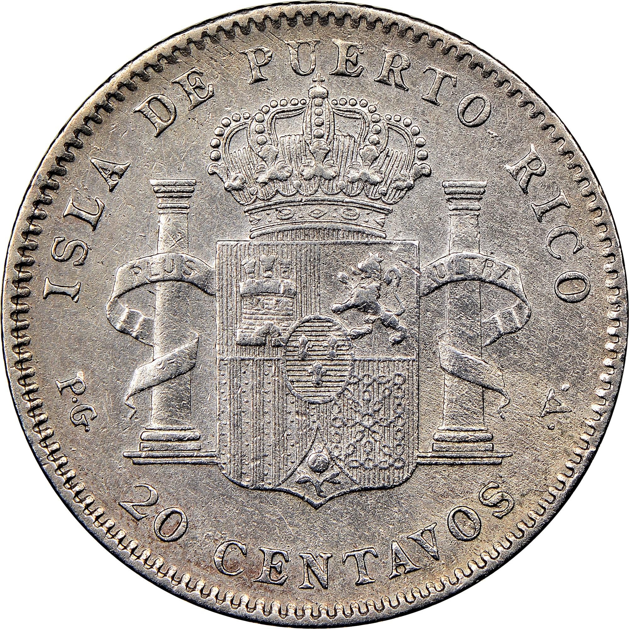 Puerto Rico 20 Centavos reverse