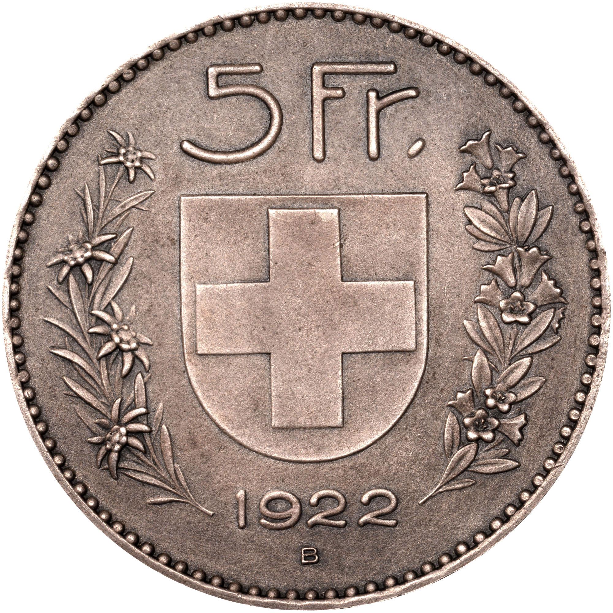 1922-1923 Switzerland 5 Francs reverse