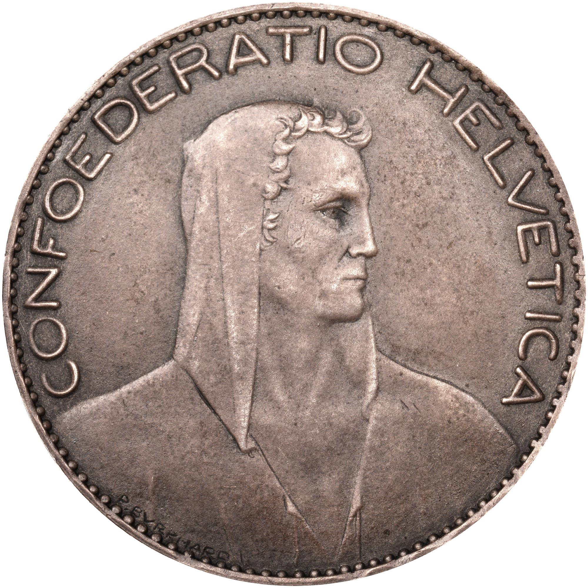 1922-1923 Switzerland 5 Francs obverse