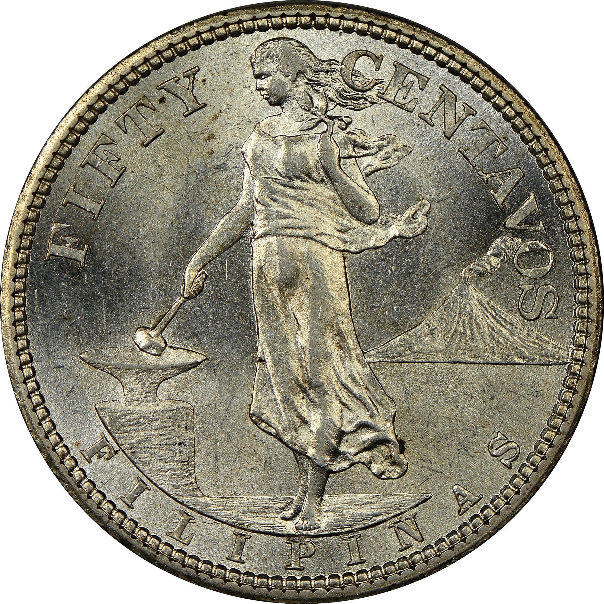 1921 PHILIPPINES 50 Centavos