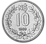 Uruguay 10 Nuevos Pesos reverse