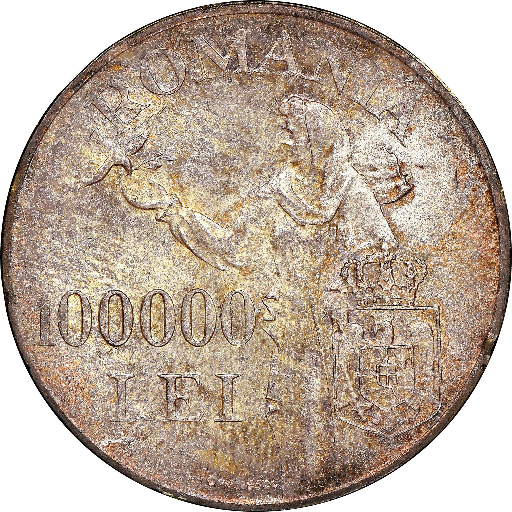 Romania 100000 Lei reverse