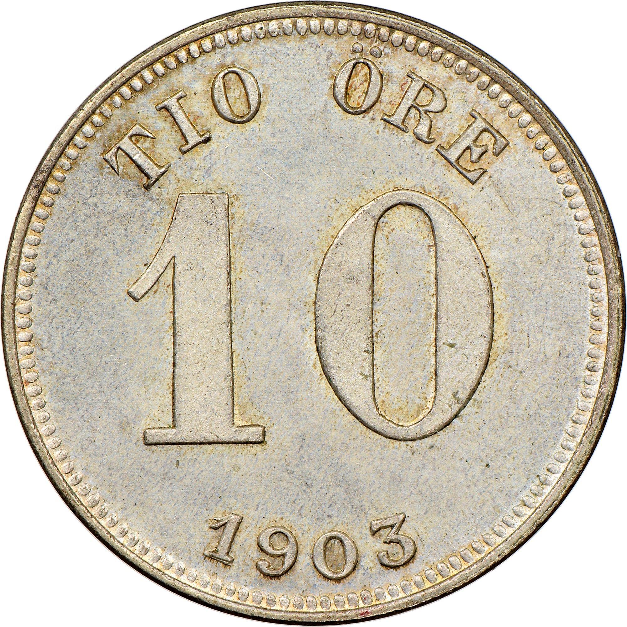 1205----1882 Swedish 10 ore coin