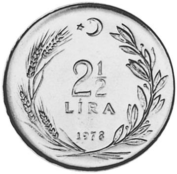Turkey 2-1/2 Lira reverse