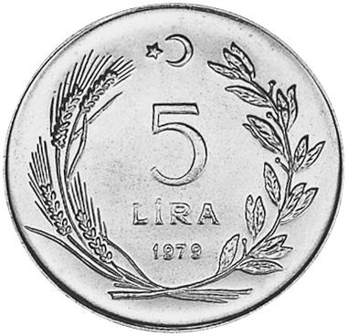 Turkey 5 Lira reverse