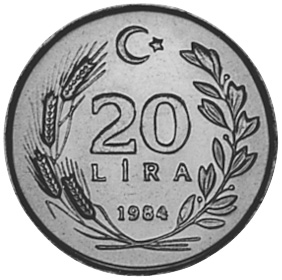Turkey 20 Lira reverse