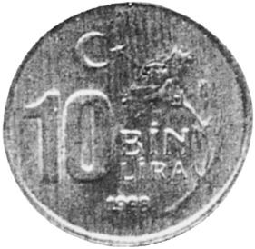 Turkey 10000 Lira reverse