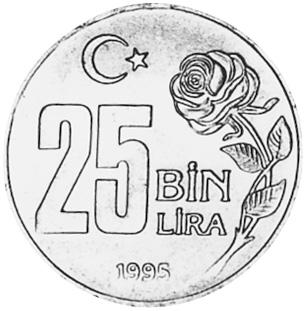 Turkey 25000 Lira reverse