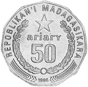 Madagascar 50 Ariary obverse