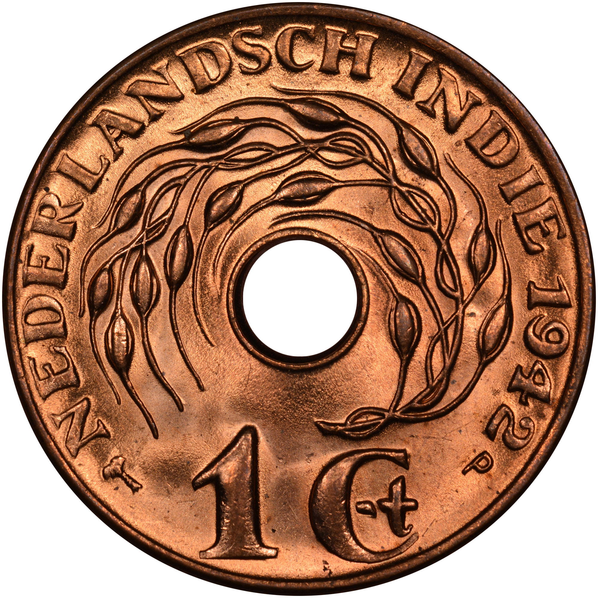 WWII Coin 1945 P Netherlands East Indies 1 Cent KM# 317 Unc