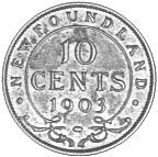 1903-1904 Newfoundland 10 Cents reverse