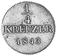 German States WÜRTTEMBERG 1/4 Kreuzer reverse
