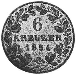 German States WÜRTTEMBERG 6 Kreuzer reverse