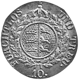 German States WÜRTTEMBERG 10 Kreuzer reverse