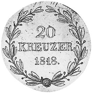 German States WÜRTTEMBERG 20 Kreuzer reverse