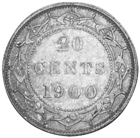 1865-1900 Newfoundland 20 Cents reverse
