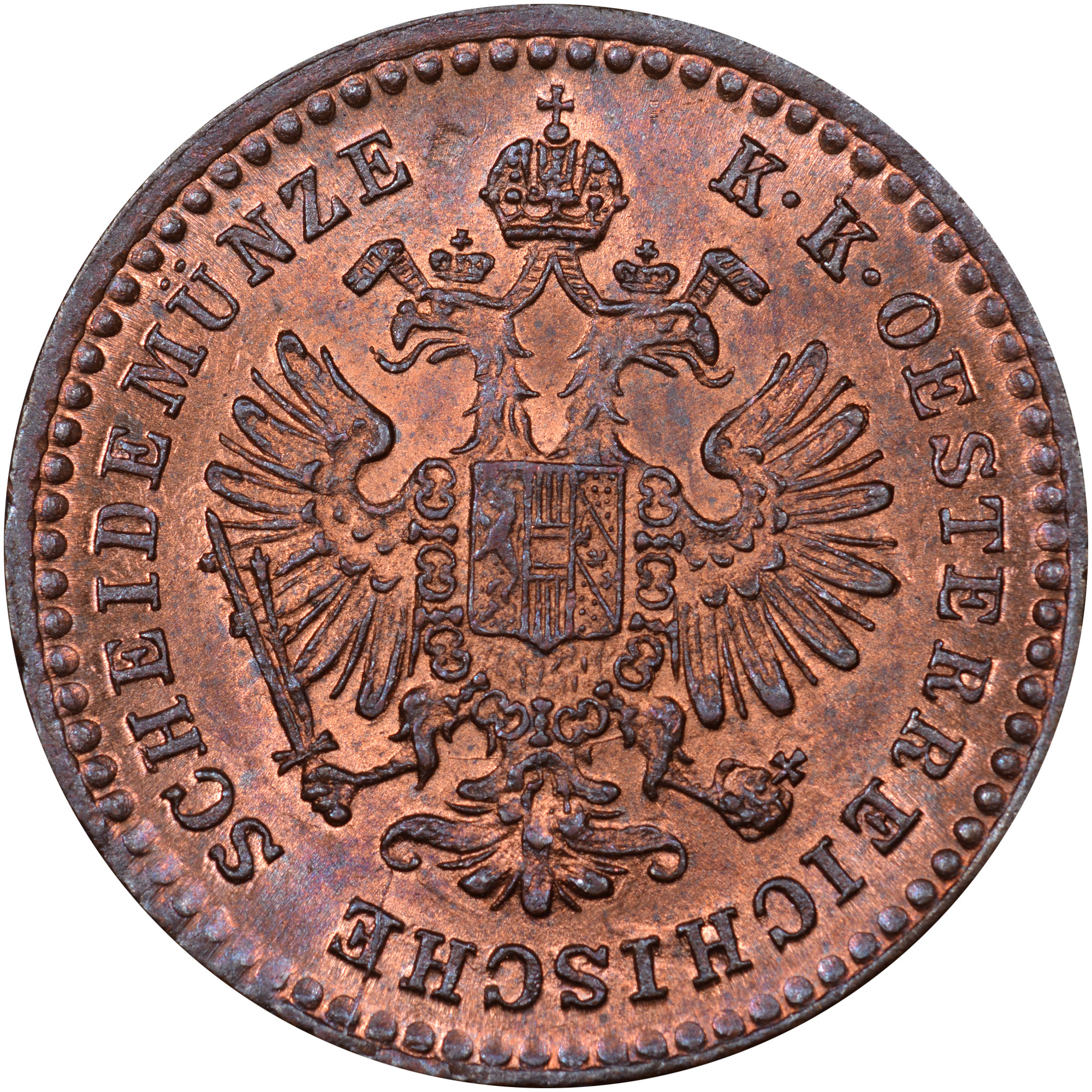 1858-1866 Austria 5/10 Kreuzer obverse
