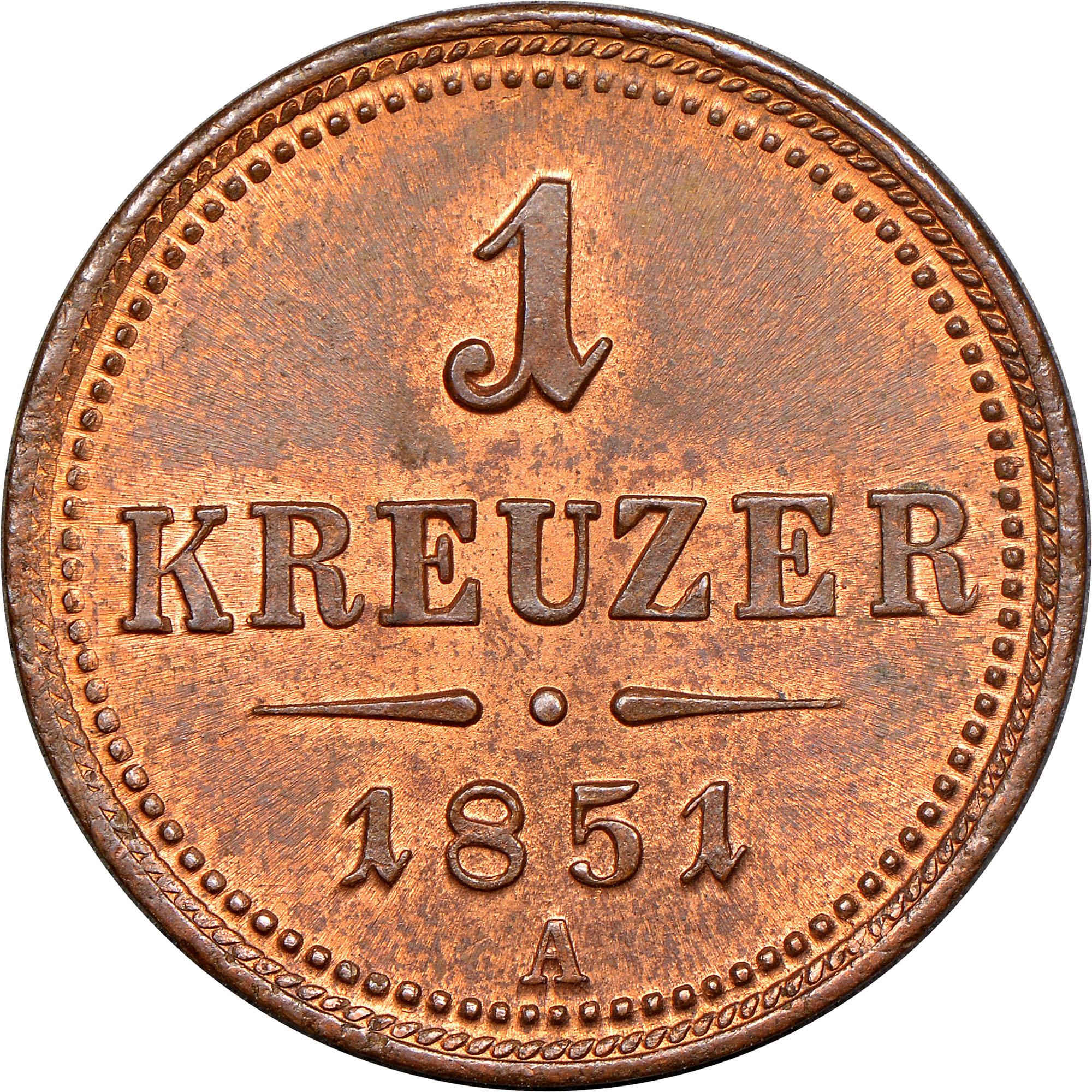 1851 Austria Kreuzer reverse