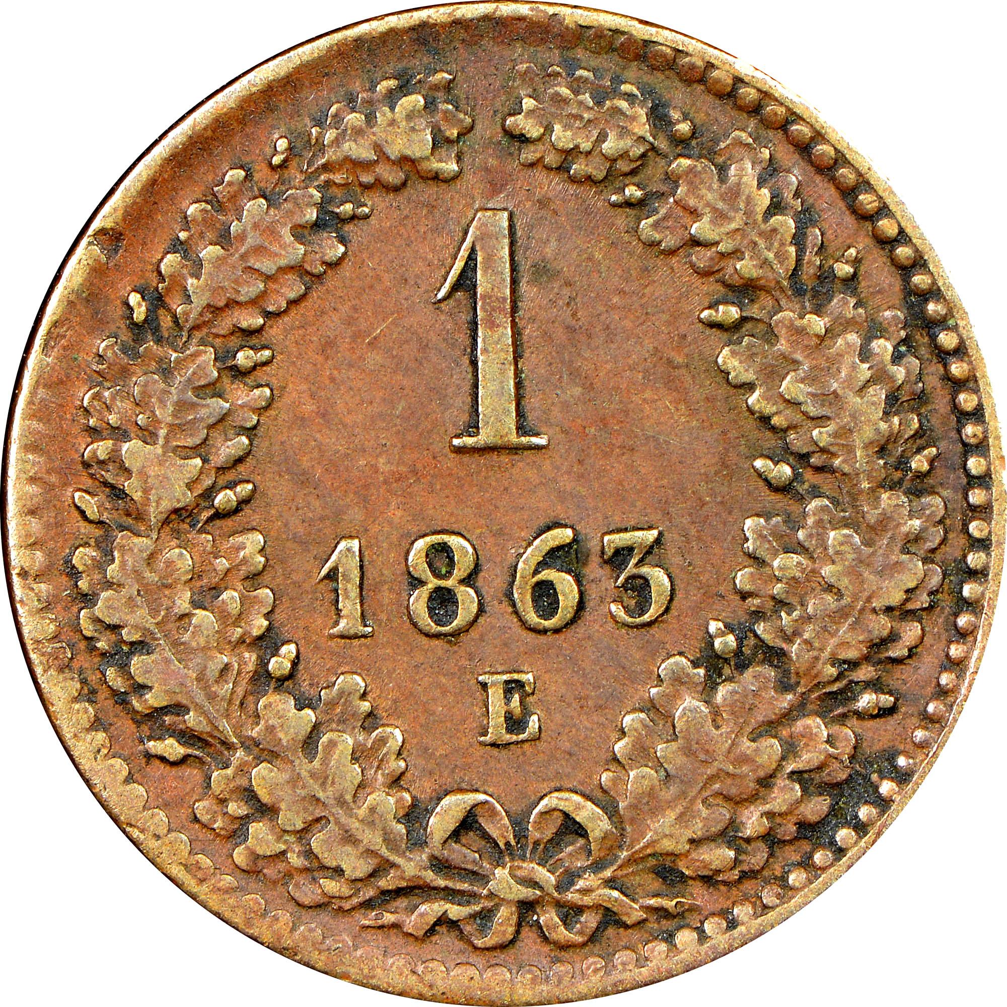 1858-1881 Austria Kreuzer reverse