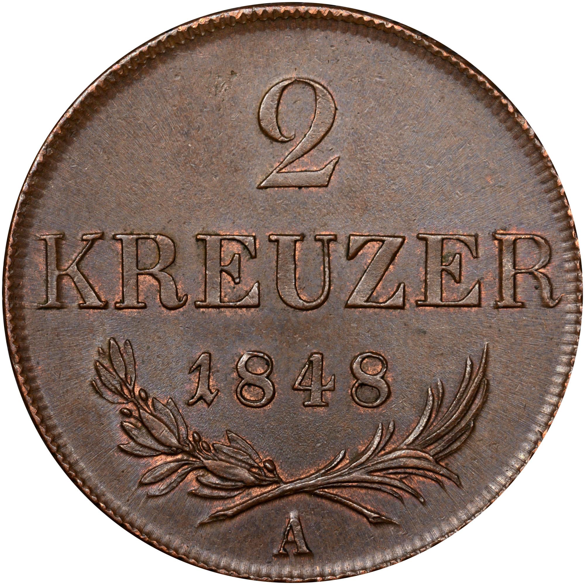 1848 Austria 2 Kreuzer reverse