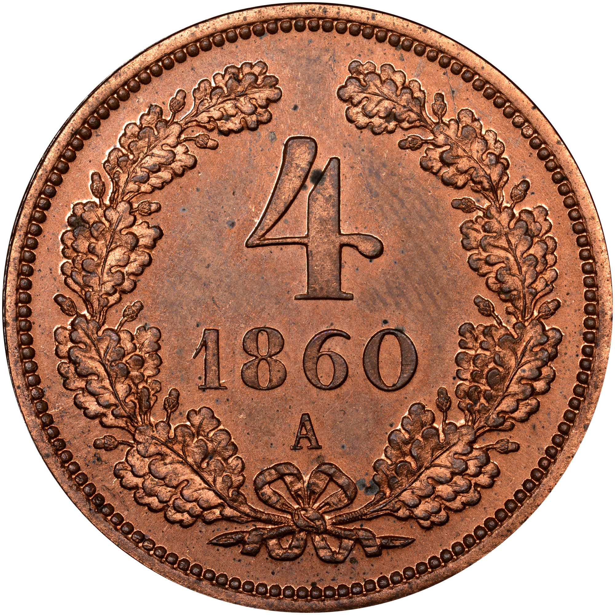 1860-1864 Austria 4 Kreuzer reverse