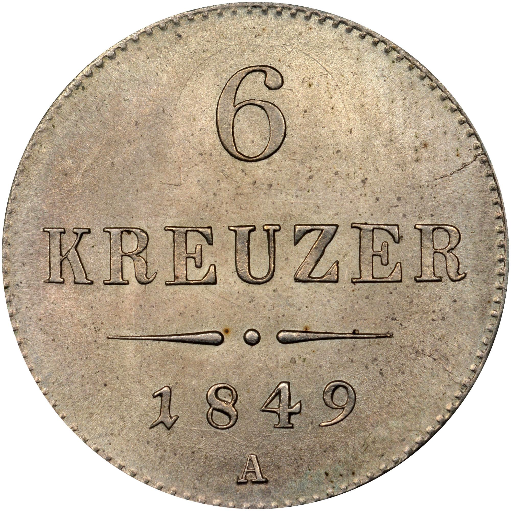 1849 Austria 6 Kreuzer reverse