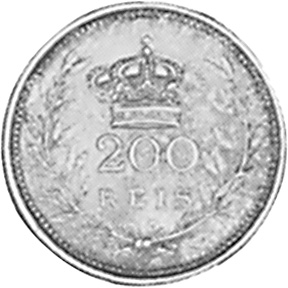 1909 Portugal 200 Reis reverse