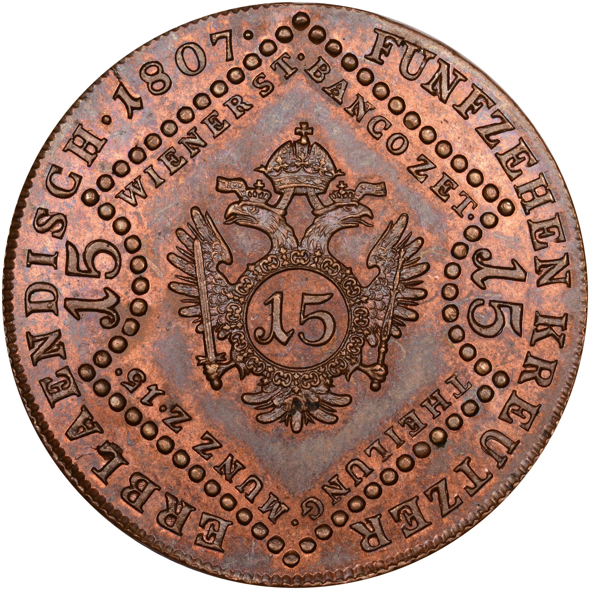 1087-1807 Austria 15 Kreuzer reverse
