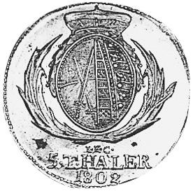 German States SAXONY-ALBERTINE 5 Thaler reverse
