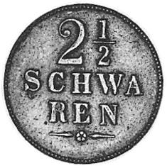 German States BREMEN 2-1/2 Schwaren reverse