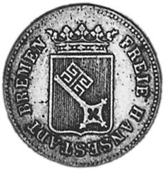 German States BREMEN 6 Grote / 1/12 Thaler obverse
