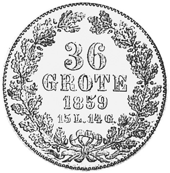 German States BREMEN 36 Grote reverse