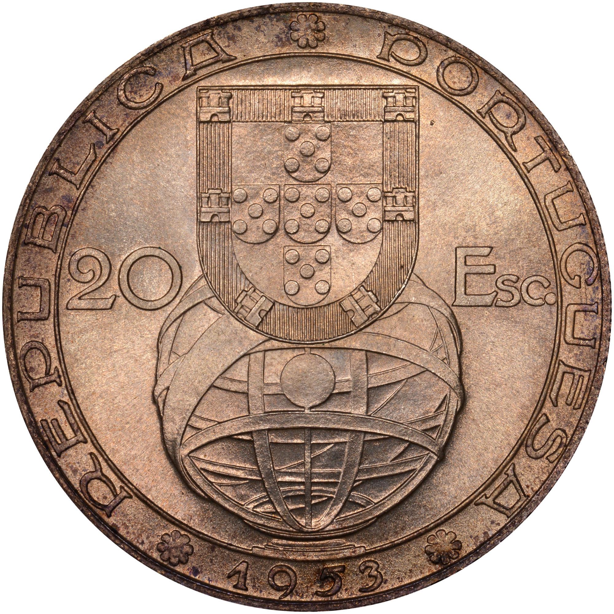 1953 Portugal 20 Escudos obverse