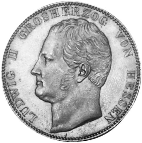 1839-1842 German States HESSE-DARMSTADT 2 Thaler, 3-1/2 Gulden obverse